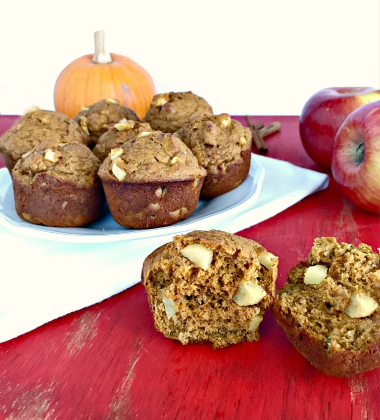 Whole Wheat Apple Pumpkin Muffins